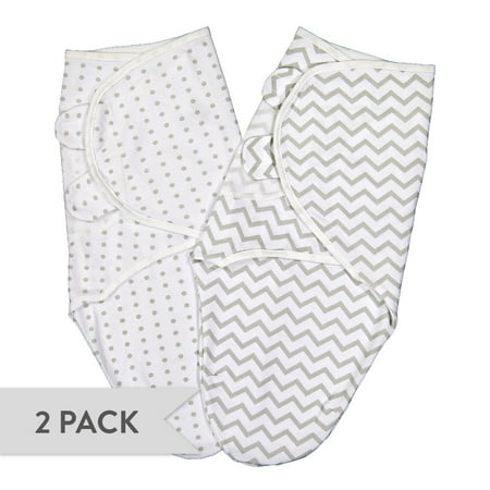 Swaddleez - Swaddle Blanket, Adjustable Baby Wrap 2 Pack Grey Chevron and Polka Dots 0-3 Months