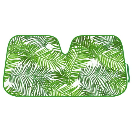 Double Bubble Windshield - Tropical Palm Tree Auto Sun Shade for Car SUV Truck - Green Tropical Leaf - Double Bubble Foil Jumbo Folding Accordion for Windshield