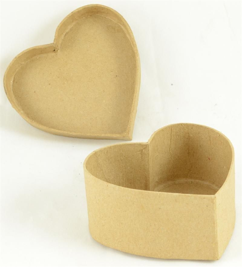 "1 Pc, Paper Mache Small Heart Box 3 "" X 1.5 """