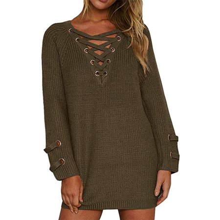 Lace Lightweight Sweater (Women's Lace Up Front V Neck Long Sleeve Knit Pullover Sweater Mini Dress Top )