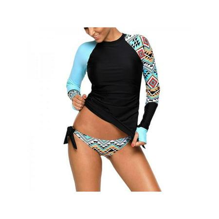 3fea83f1ec Sweetsmile - Sweetsmile Women Bikini Tankini Tops Push up Padded Long  Sleeve Two-pieces Swimsuit Bathing Suit Girls Split Swimwear Sets -  Walmart.com