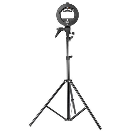 Neewer Studio Photography S-Type Speedlite Bracket Holder with Bowens Mount and 75 inches/190 centimeters Adjustable Light Stand for Flash Snoot Softbox Beauty Dish Reflector