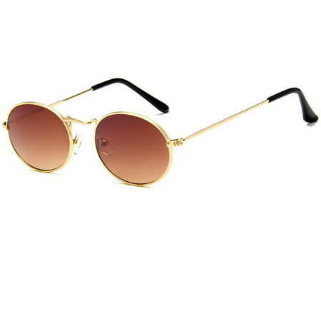 Unisex Outdoor Retro Style Sun Glasses Stylish Metal Frame Oval Color Lens UV400 Sunglasses for Men (Stylish Sunglass)