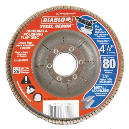 4-1/2 in. 80-Grit Steel Demon Grinding and Polishing Flap Disc with Type 29 Conical (Diablo Steel Demon Grinding And Polishing Flap Disc)