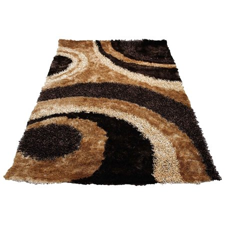 3D Shimmer Shag Light Brown Dark Brown Chocolate Beige Tan Gold Area Rug Carpet Hand Tufted Handmade 8 ft x 10 ft Large Signature 289 Brown