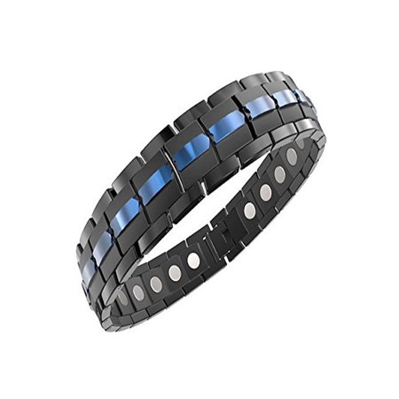 Mens Magnetic Titanium Bracelet Carbon Black Blue for Arthritis and Carpel Tunnel, Size Adjuster, Gift Box (7.5)