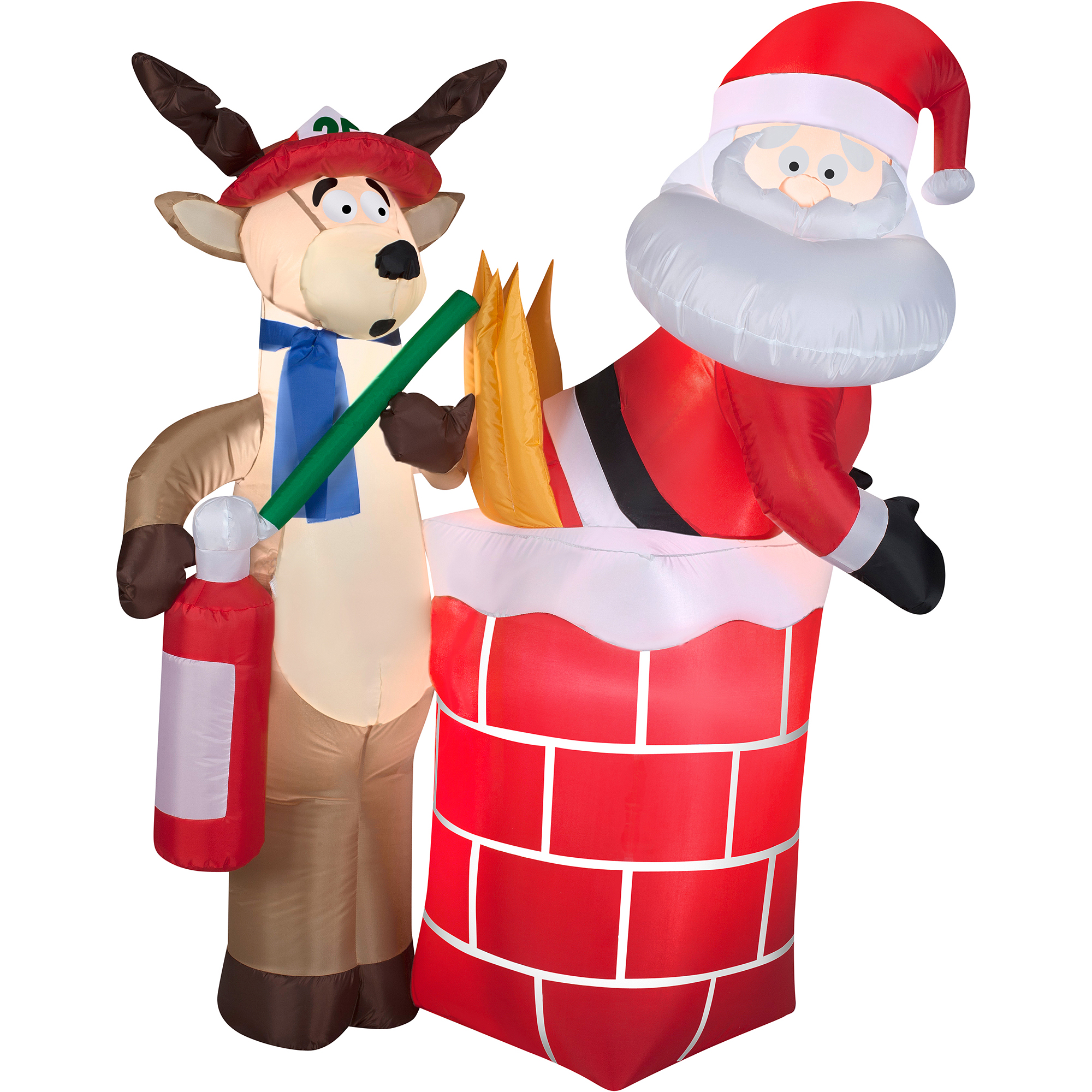 Christmas Decor Airblown Inflatable 4.5' Santa on Fire in Chimney