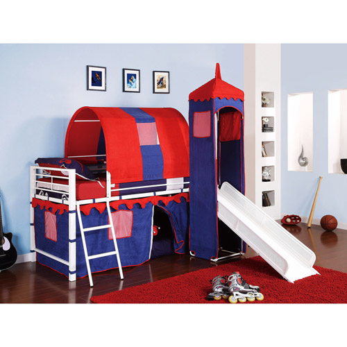 Castle Tent Twin Metal Loft Bed with Slide & Under Bed Storage, White