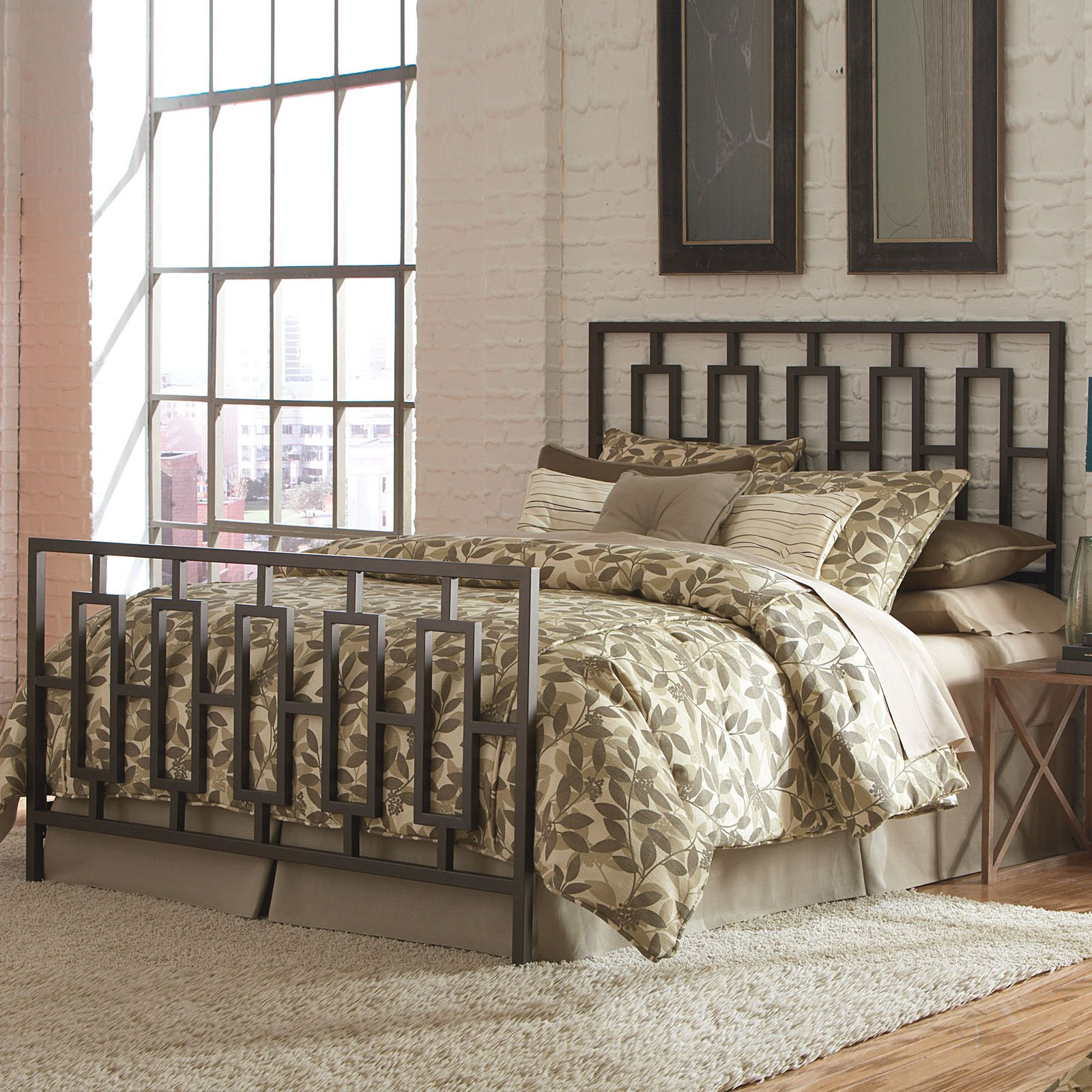 Miami Complete Bed with Squared Metal Tubing, Coffee Finish, Multiple sizes available