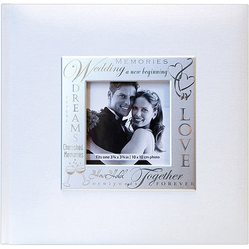"Fabric Expressions Photo Album, 8.5"" x 8.5"", 200 Pockets, Wedding, White"