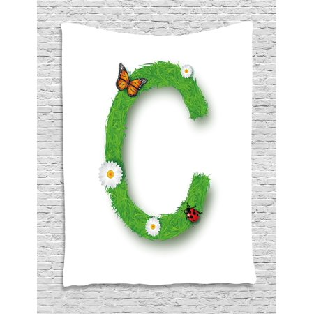 Letter C Tapestry  Capital C With Grass Greenland Spring Flourishing Nature Themed Character  Wall Hanging For Bedroom Living Room Dorm Decor  60W X 80L Inches  Green Multicolor  By Ambesonne