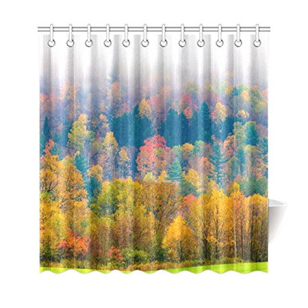 GCKG Fall Foliage Shower Curtain, Field of Trees Polyester Fabric Shower Curtain Bathroom Sets with Hooks 66x72 Inches - image 3 of 3