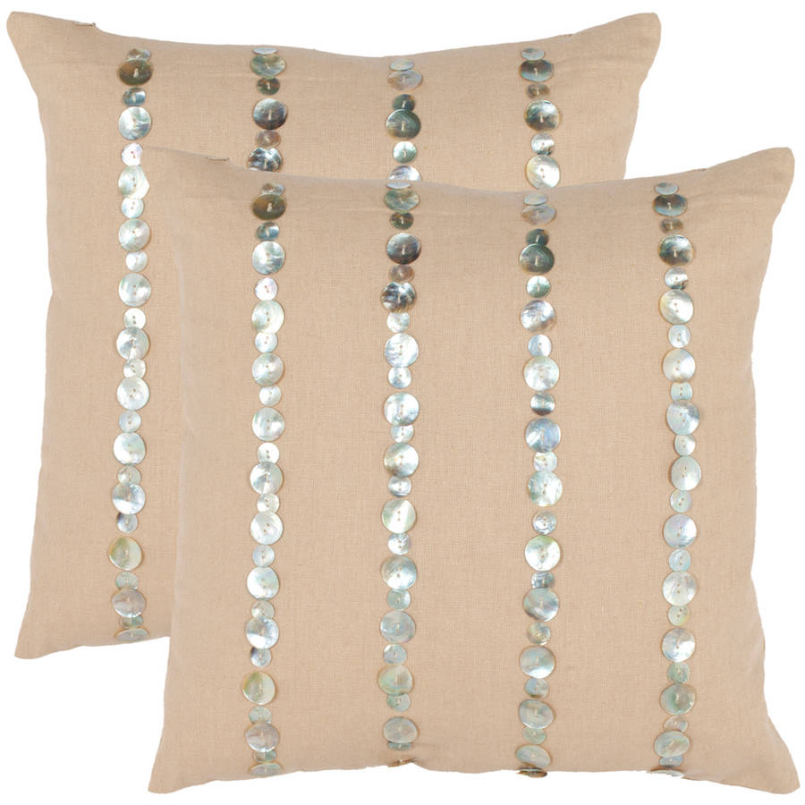 "Safavieh Jenna 18"" x 18"" Almond Pillow, Set of 2"