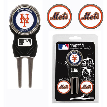 Team Golf MLB New York Mets Divot Tool Pack With 3 Golf Ball Markers