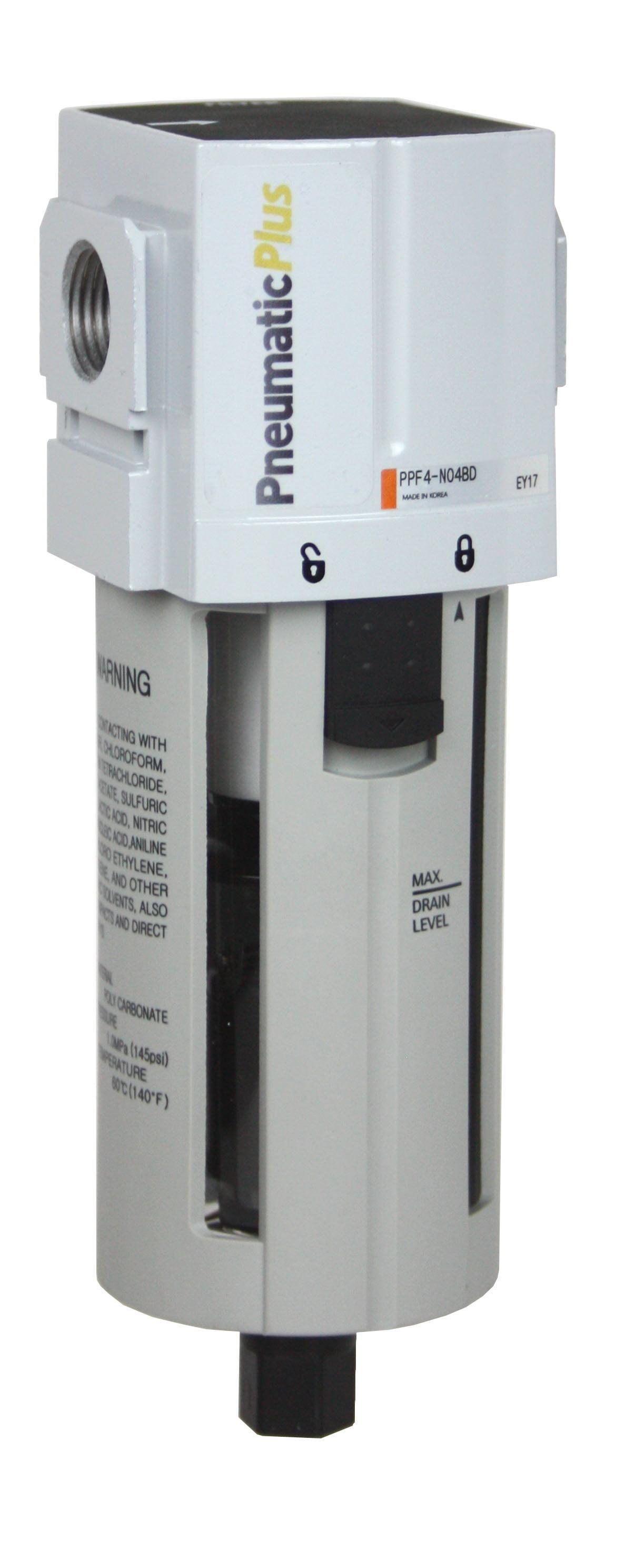PneumaticPlus PPF2-N02B Miniature Compressed Air Particulate Filter 1//4 NPT Bracket Manual Drain 5 Micron Poly Bowl