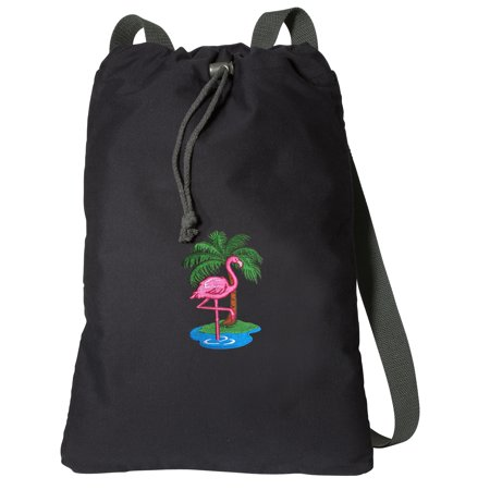 Canvas Flamingos Backpack Natural Cotton Pink Flamingo Cinch Bag Lined and with Wide Straps