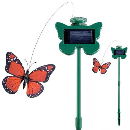 Set of 2 Fluttering Butterfly Garden Solar Light - Green ()