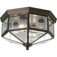 "Four-Light Beveled Glass 11-1/8"" Close-to-Ceiling"