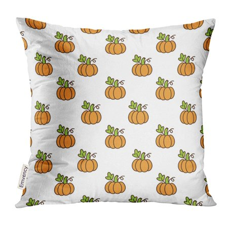 CMFUN Cute Pattern with Orange Pumpkin for The Season of Harvest Thanksgiving Halloween Used Pillow Case 18x18 Inches Pillowcase