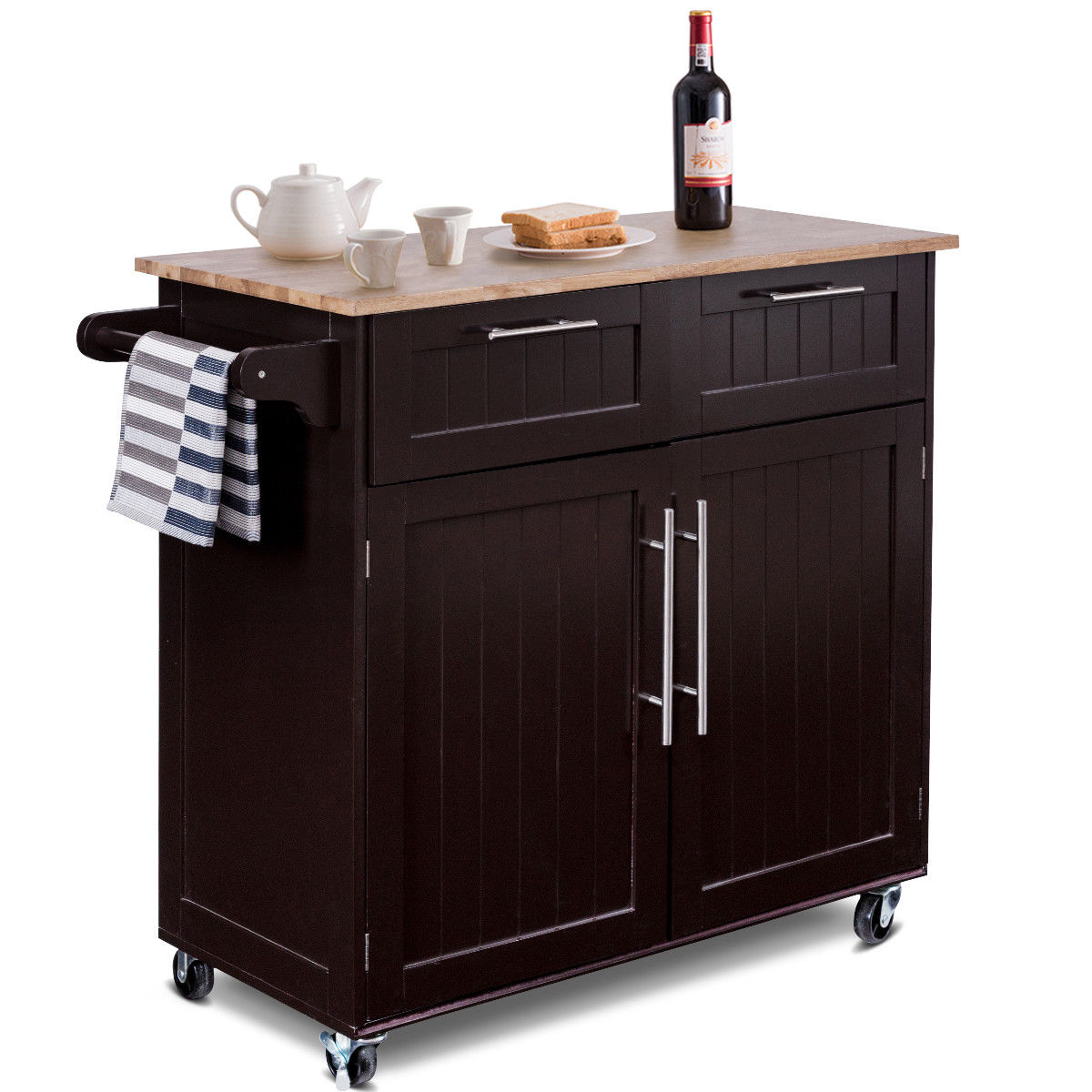 Rolling Kitchen Cabinets: Costway Rolling Kitchen Cart Island Heavy Duty Storage