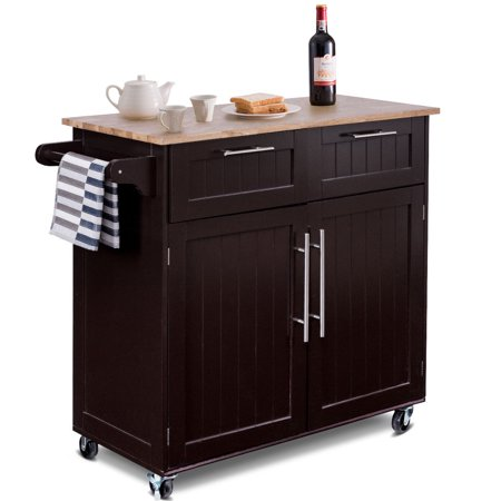 Two Light Kitchen Island (Costway Rolling Kitchen Cart Island Heavy Duty Storage Trolley Cabinet Utility Modern)