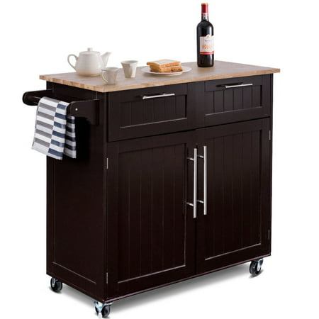 Costway Rolling Kitchen Cart Island Heavy Duty Storage Trolley Cabinet Utility