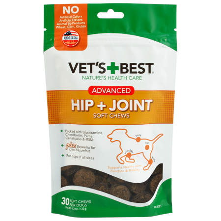 Vet's Best Advanced Hip & Joint Soft Chew Dog Supplements | Formulated with Glucosamine and Chondroitin to Support Dog Joint and Cartilage Health |30 Day