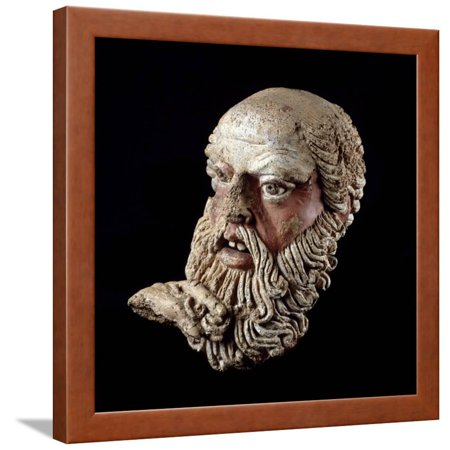 Etruscan Art : Head of a Bald Old Man Framed Print Wall - Bald Old Man