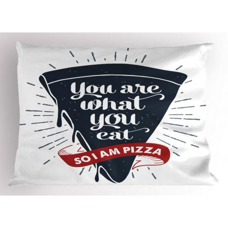 Funny Words Pillow Sham Grunge Pizza Slice with Retro Effect Humor Phrase about Fast Food, Decorative Standard Size Printed Pillowcase, 26 X 20 Inches, Dark Blue Red and Grey, by Ambesonne](Phrase Humour Halloween)