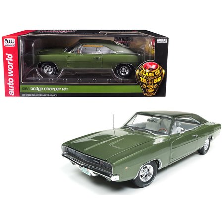"1968 Dodge Charger R/T Medium Green Metallic ""Class of 68"" Limited Edition 1002 pieces 1/18 Diecast Model by Autoworld"