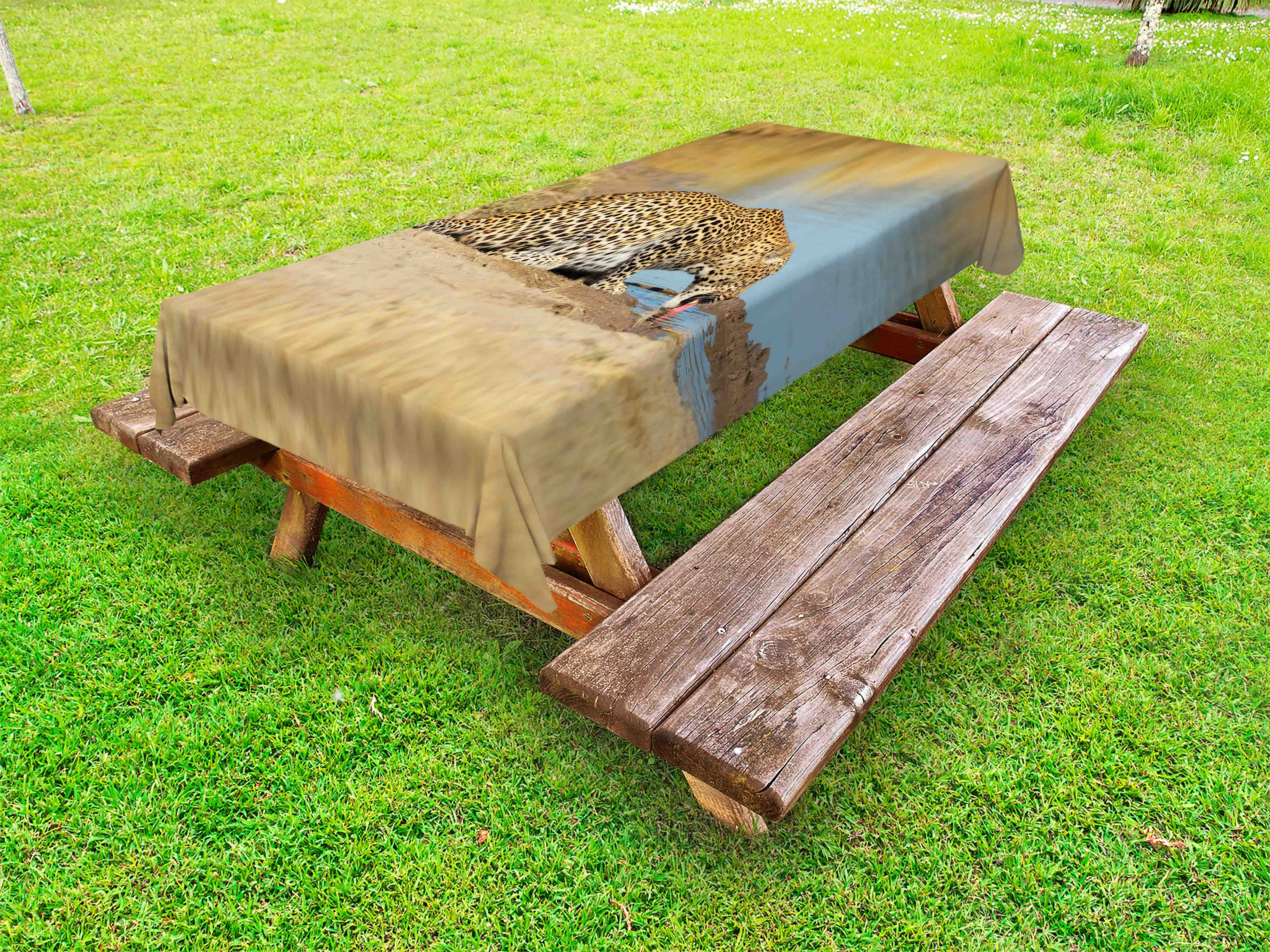 Safari outdoor tablecloth leopard panther drinking at waterhole wild south african animal documentary print decorative washable fabric picnic table cloth