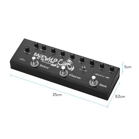 Caline SCURU S6 3-in-1 Electric Guitar Pedal Multieffect Pedal Delay Chorus Distortions Guitar Effects Pedals - image 7 de 7