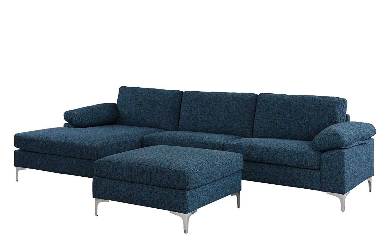 """Large 108.2"""" inch Sectional Sofa with Ottoman, L-Shape ..."""