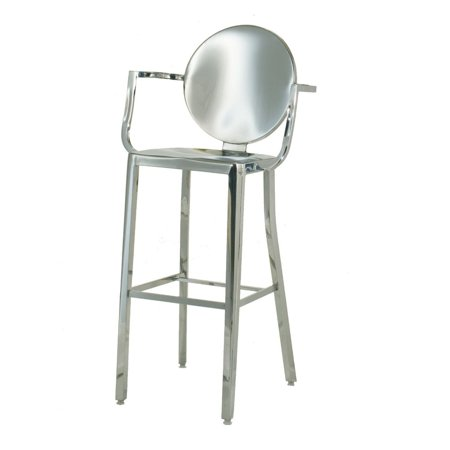 Fabulous Occ King Bar Height Stool 30 Inch With Arms Arm Chair Armchair Polished Stainless Steel Round Back Barstool Ncnpc Chair Design For Home Ncnpcorg