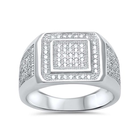 DTLA Mens Micro Pave CZ Fashion Ring Sterling Silver Wedding Band - Style 17553 - (Pave Style Band)