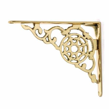 Pair Shelf Bracket Bright Solid Brass 6 1/8' | Renovator's