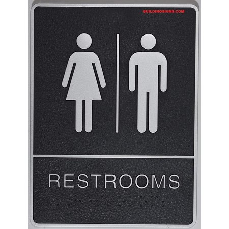 ADA Restroom Sign with Tactile Graphic (Black,6x9 Comes with Double Sided Tape)- The Leather Sheffield line … ()