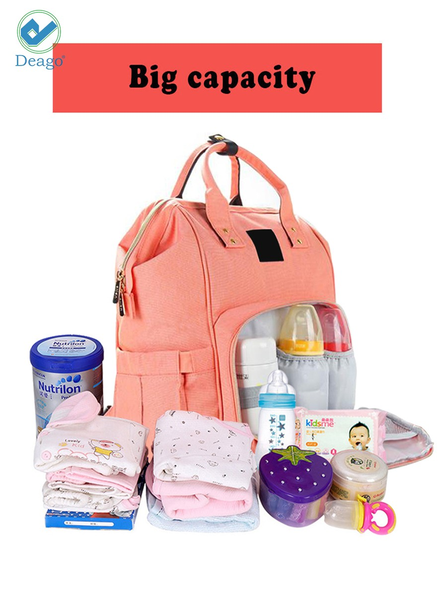 8aa815693de7 Deago Waterproof Backpack Mummy Bag Baby Water Feeding Bottle Portable  Diaper Bag Computer Large Capacity Bag Orange Pink