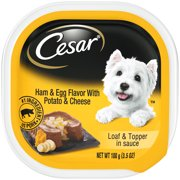 CESAR Wet Dog Food Loaf & Topper in Sauce Ham & Egg Flavor With Potato & Cheese, 3.5 oz. Easy Peel Tray