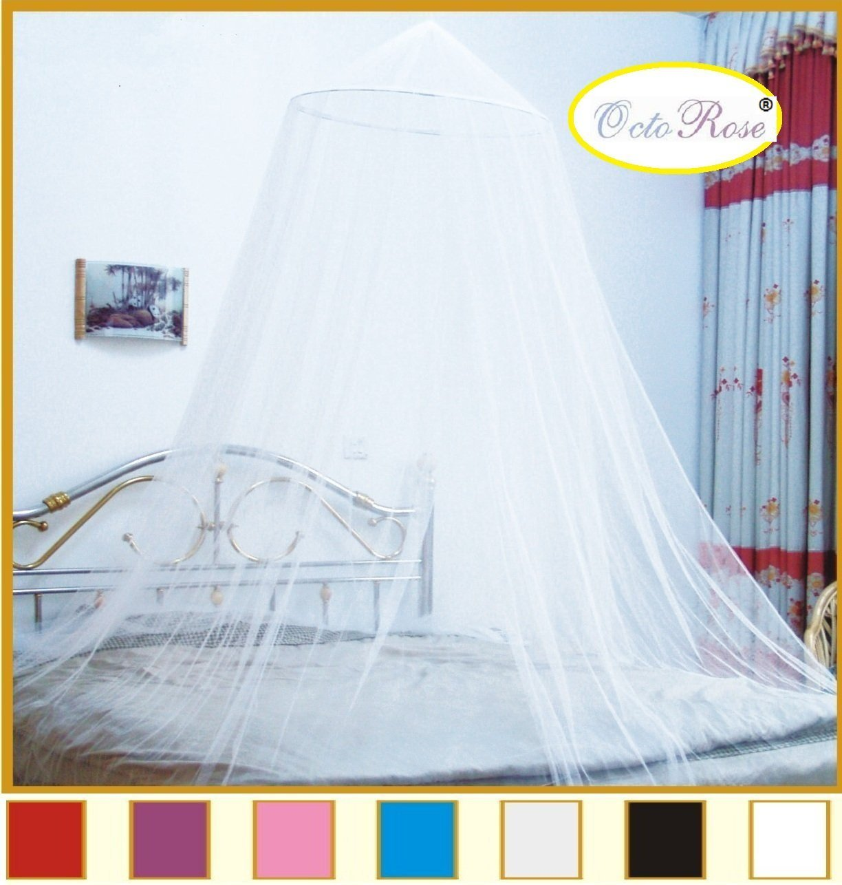 OctoRose® Round Hoop Bed Canopy Mosquito Net Fit Crib, Twin, Full, Queen, King