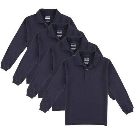 George Boys School Uniforms Long Sleeve Pique Polo Shirts, 4-Pack Value Bundle, Sizes 4-18(XS-XXL)
