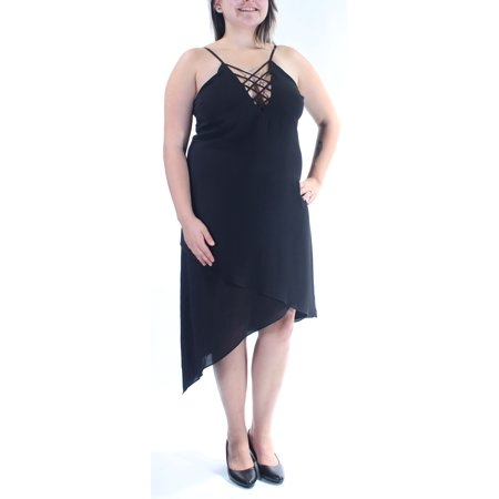 Length Cut Out - GUESS Womens Black Cut Out Spaghetti Strap V Neck Tea Length Fit + Flare Dress  Size: L