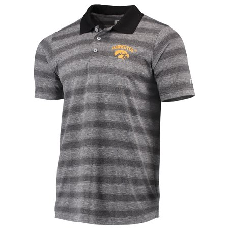 Men's Russell Heathered Black Iowa Hawkeyes Classic Striped Polo Climacool Classic Stripe Polo