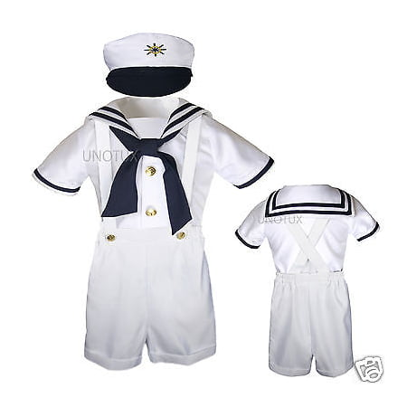 New Baby & Toddler Formal Party Nautical Sailor Suit Outfits SZ: S M L XL 3T 4T - Sailor Outfit