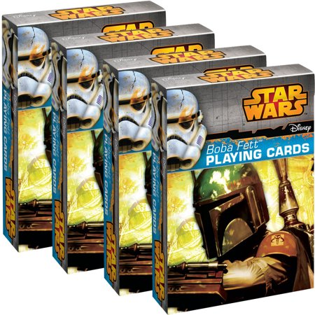 Star Wars Playing Cards (4 Pack) Boba Fett Themed Deck Set, For Kids, Party Favors Fun Collectors Item