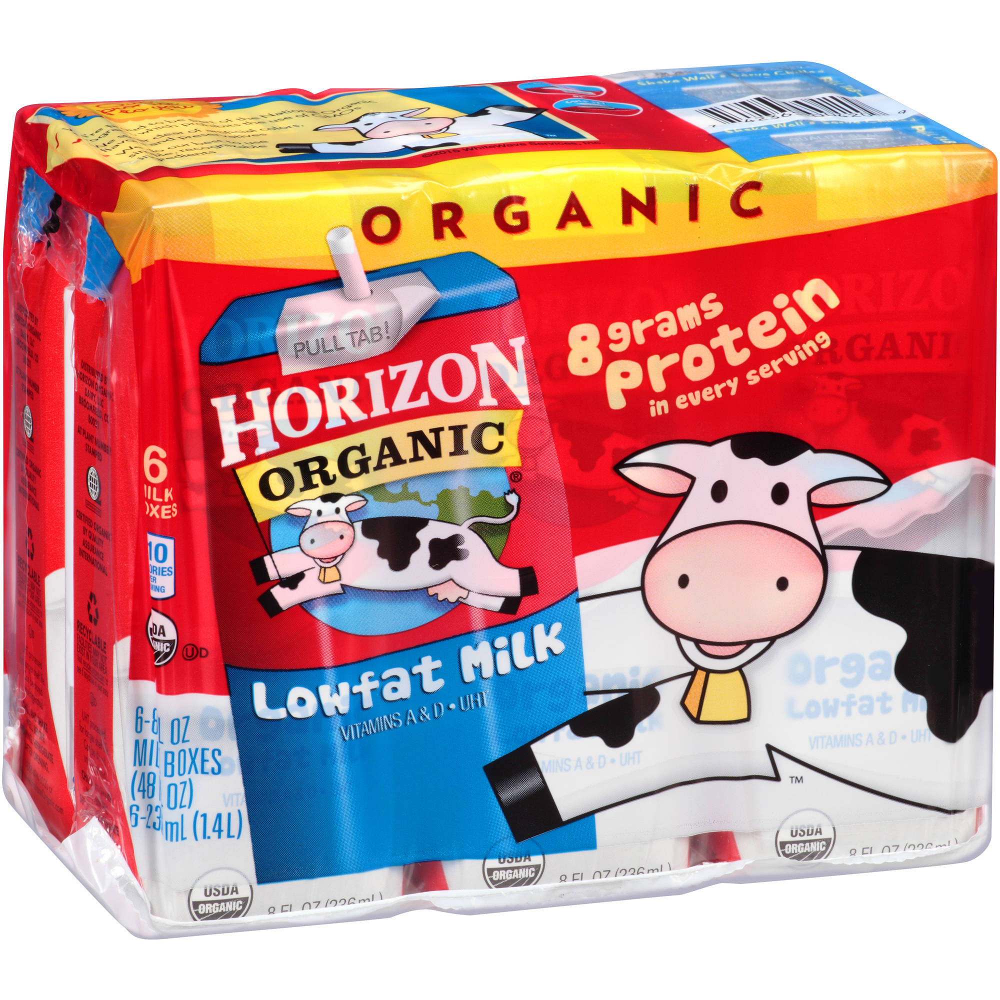 Horizon Organic Lowfat Milk, 8 fl oz, 6 count