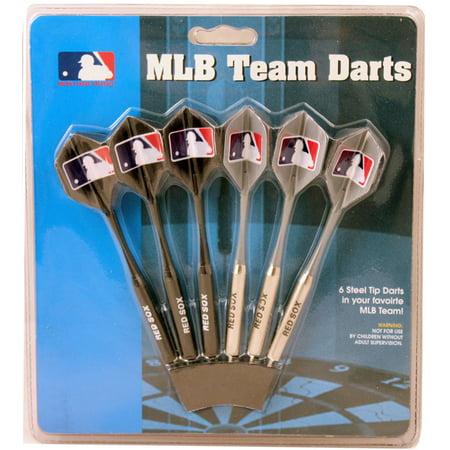 Set of 6 MLB Red Sox Steel Tip Darts & Flights with MLB Logo