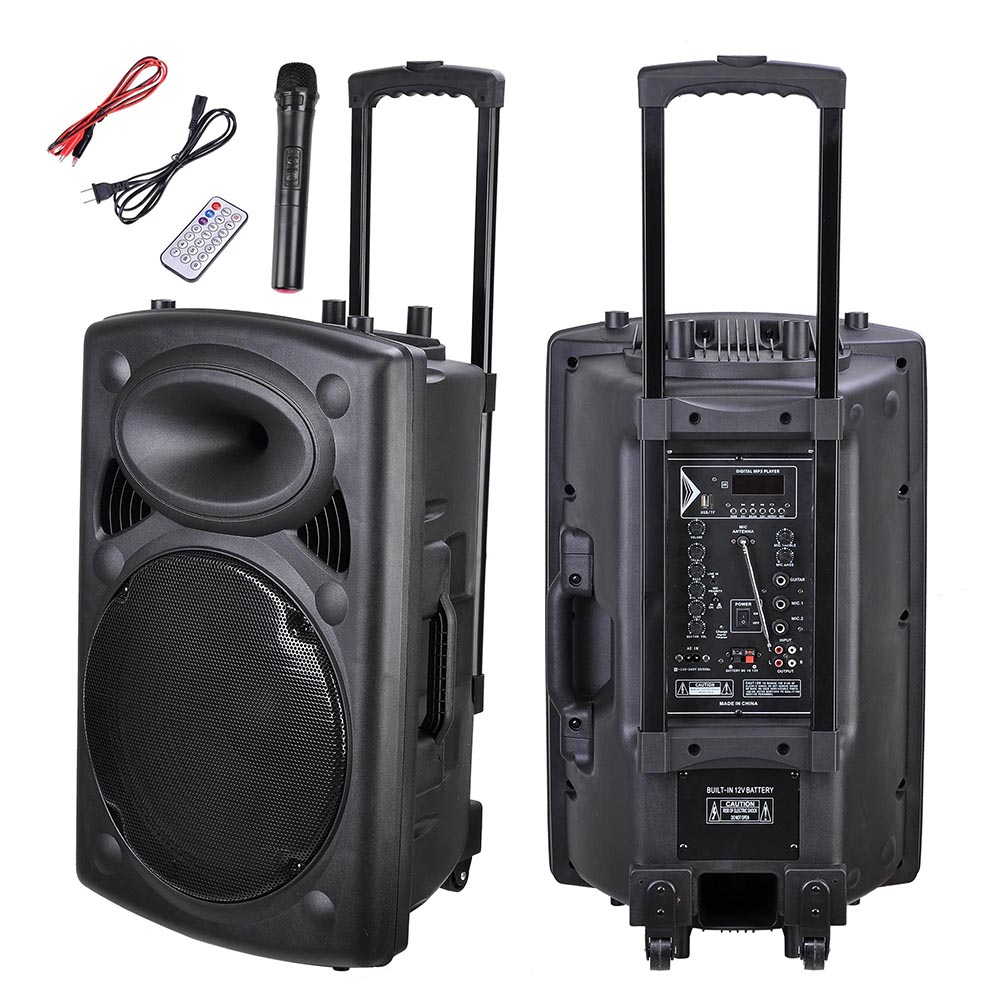 Portable Active PA Speaker Mic Guitar AMP Bluetooth USB SD LCD FM Remote w  Wireless Microphone by Yescom