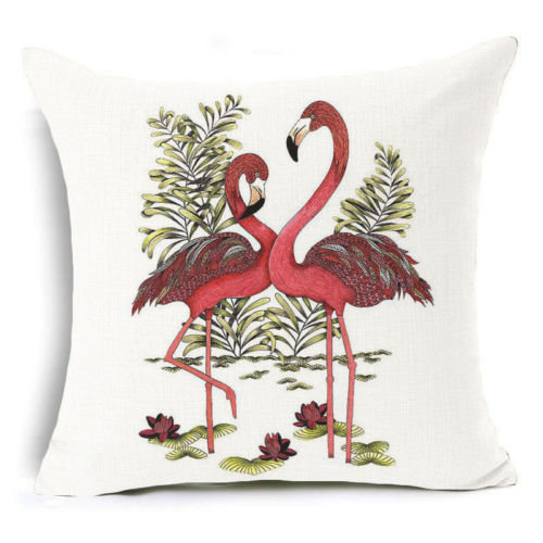18/'/'x18/'/' Flamingo Square Cotton Linen Pillow Case Cushion Cover Home Sofa Decor