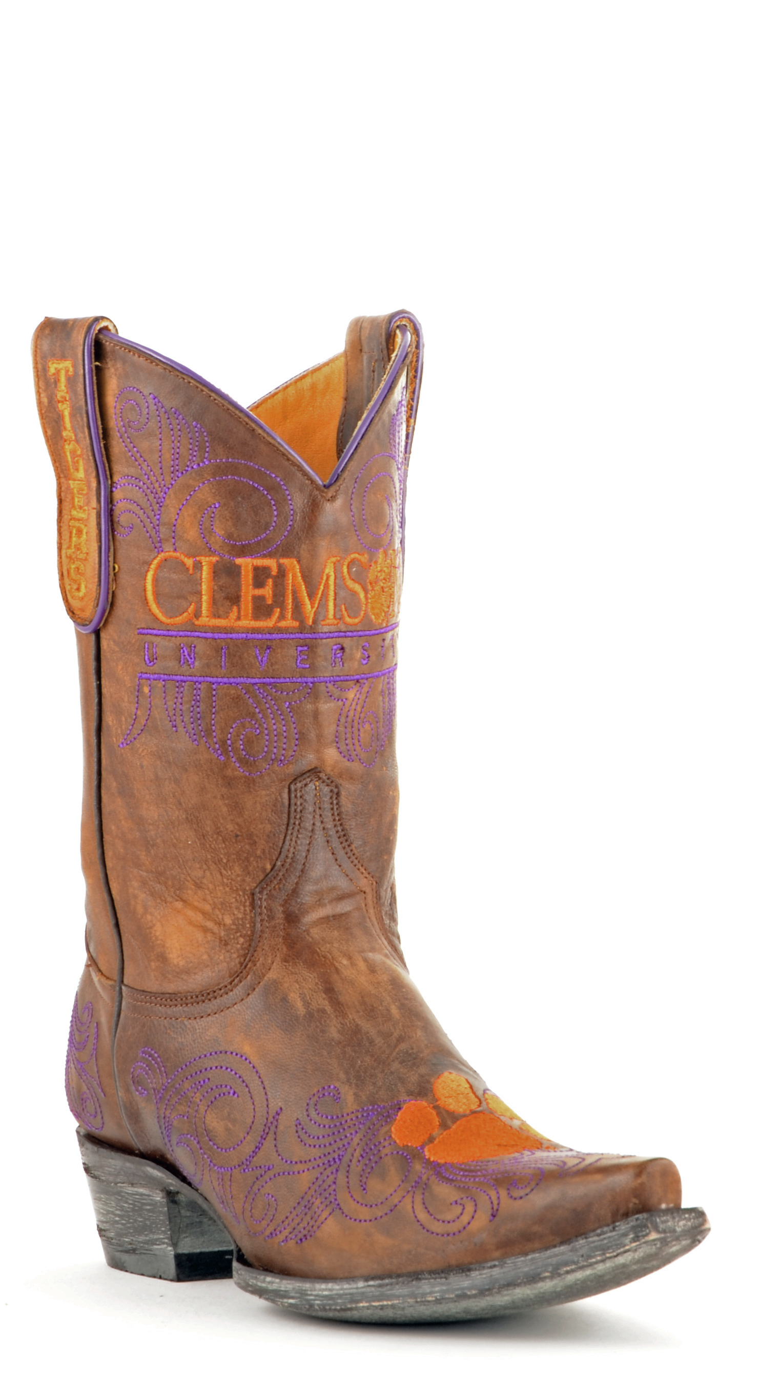 "Gameday Boots Women's 10"" Short Leather Clemson Cowboy Boots 3557 New by GameDay Boots"